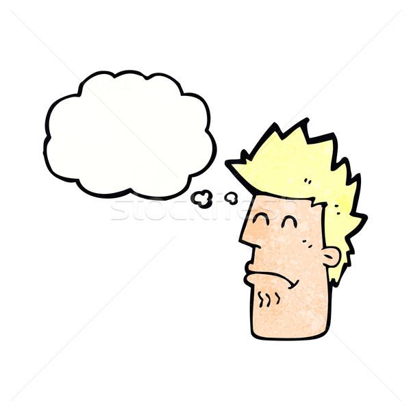 Cartoon man gevoel ziek gedachte bel hand Stockfoto © lineartestpilot