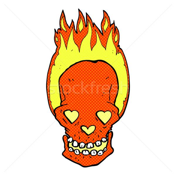 Zdjęcia stock: Komiks · cartoon · ognisty · czaszki · miłości · serca