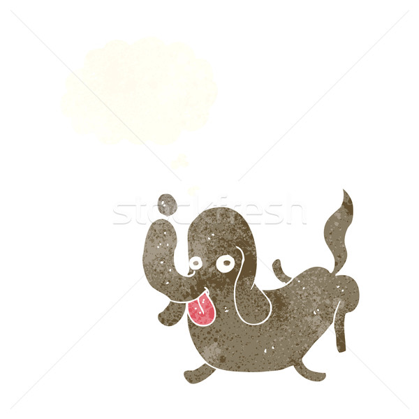 cartoon dog sticking out tongue with thought bubble Stock photo © lineartestpilot