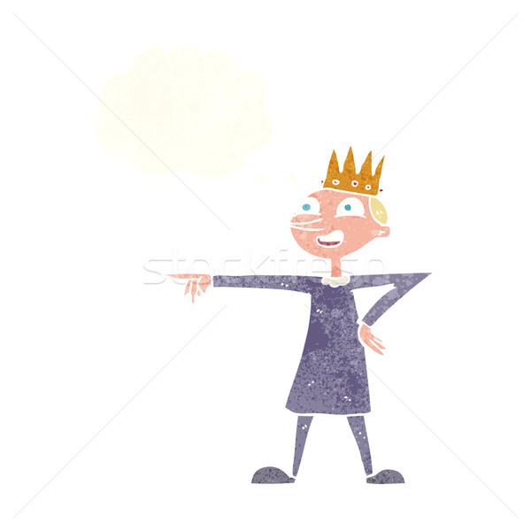 Desenho animado indicação príncipe balão de pensamento mão feliz Foto stock © lineartestpilot
