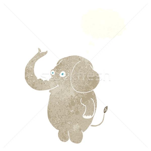 Cartoon funny słoń bubble myśl strony projektu Zdjęcia stock © lineartestpilot