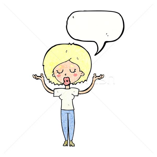 Cartoon paisible femme bulle main design Photo stock © lineartestpilot