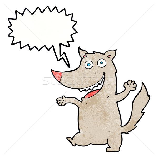 Cartoon счастливым волка речи пузырь стороны дизайна Сток-фото © lineartestpilot