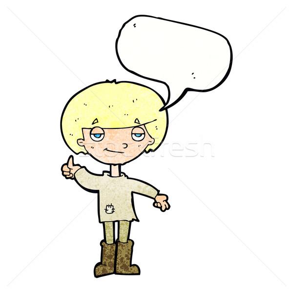 Desenho animado menino pobre roupa símbolo Foto stock © lineartestpilot