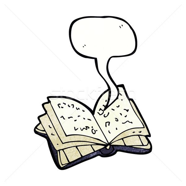 Rajz nyitott könyv szövegbuborék kéz terv könyvtár Stock fotó © lineartestpilot