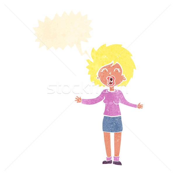Karikatür yüksek sesle kadın konuşma balonu el dizayn Stok fotoğraf © lineartestpilot