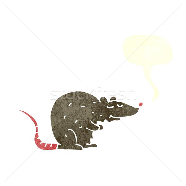 Karikatür sıçan konuşma balonu el dizayn fare Stok fotoğraf © lineartestpilot