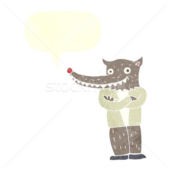 Cartoon волка человека речи пузырь стороны дизайна Сток-фото © lineartestpilot