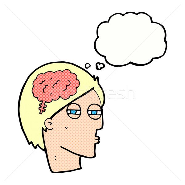 Cartoon человека мышления осторожно мысли пузырь стороны Сток-фото © lineartestpilot