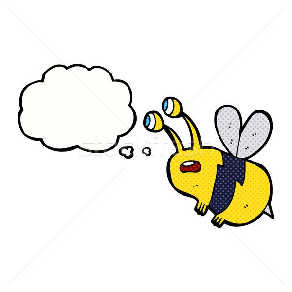 Cartoon przestraszony Pszczoła bubble myśl strony projektu Zdjęcia stock © lineartestpilot