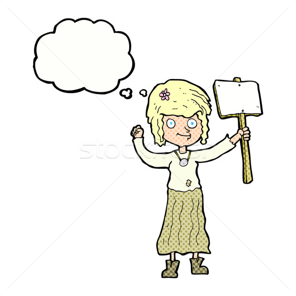 Cartoon hippie fille protestation signe bulle de pensée Photo stock © lineartestpilot