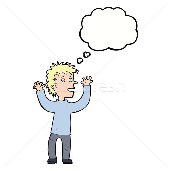 Cartoon opgewonden jongen gedachte bel hand man Stockfoto © lineartestpilot