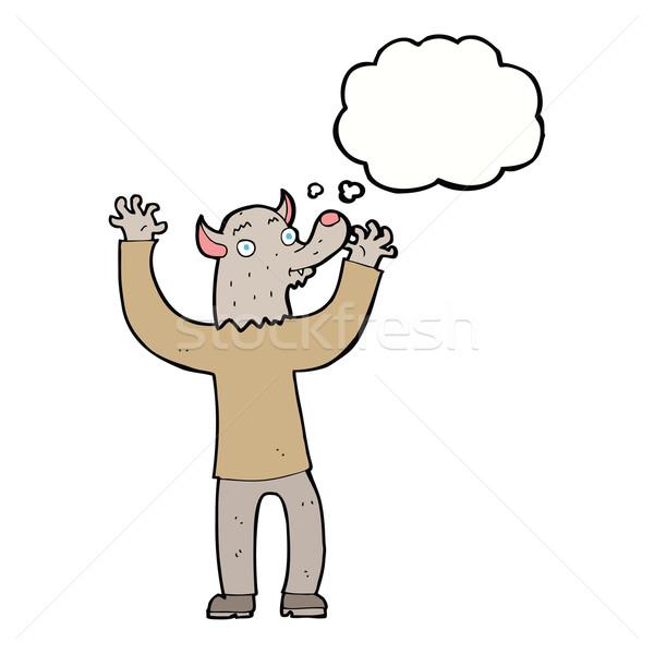 Karikatür mutlu kurt adam adam düşünce balonu el Stok fotoğraf © lineartestpilot