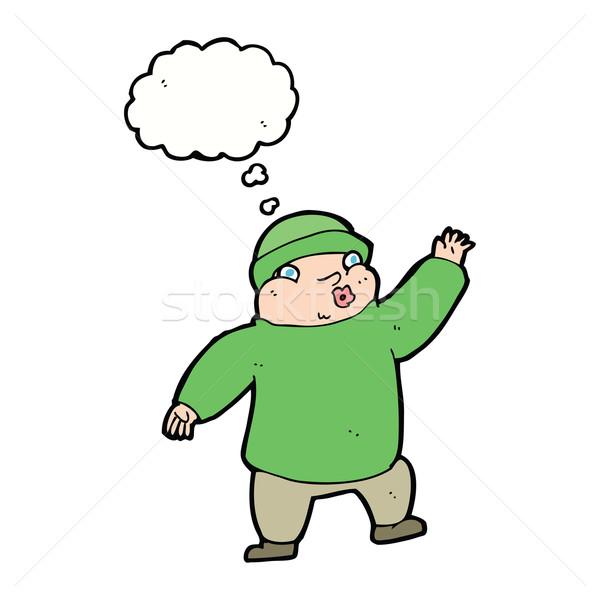 Cartoon uomo Hat bolla di pensiero mano Foto d'archivio © lineartestpilot