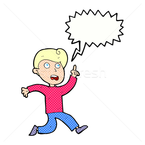 cartoon boy panicking with speech bubble Stock photo © lineartestpilot