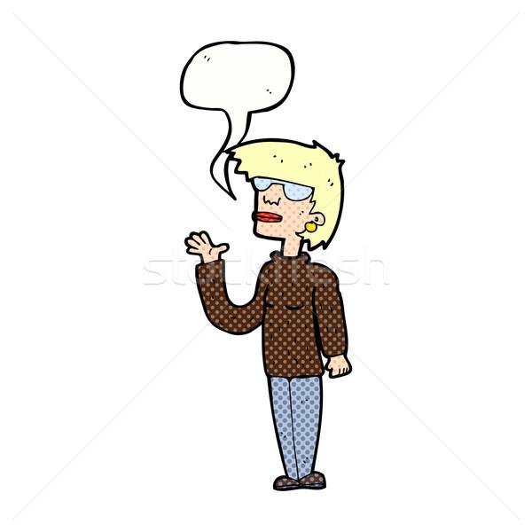 Cartoon женщину очки речи пузырь стороны Сток-фото © lineartestpilot