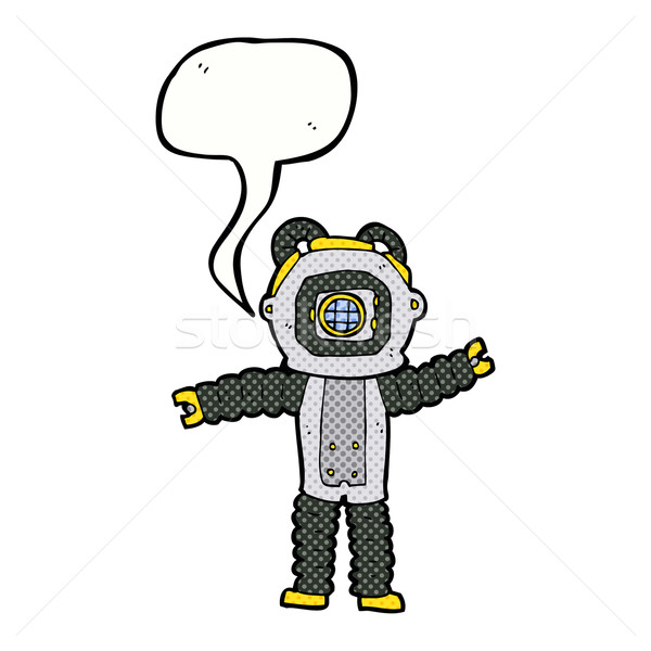 Cartoon diep zee duiker tekstballon hand Stockfoto © lineartestpilot