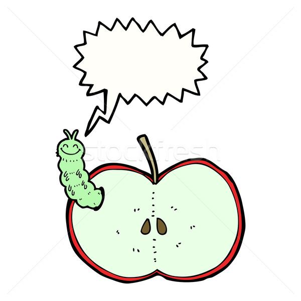 Cartoon bug manger pomme bulle main Photo stock © lineartestpilot