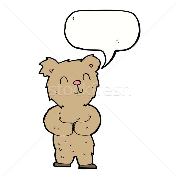 Cartoon gelukkig weinig beer tekstballon hand Stockfoto © lineartestpilot