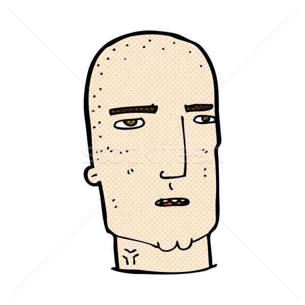 Cômico desenho animado careca difícil cara retro Foto stock © lineartestpilot
