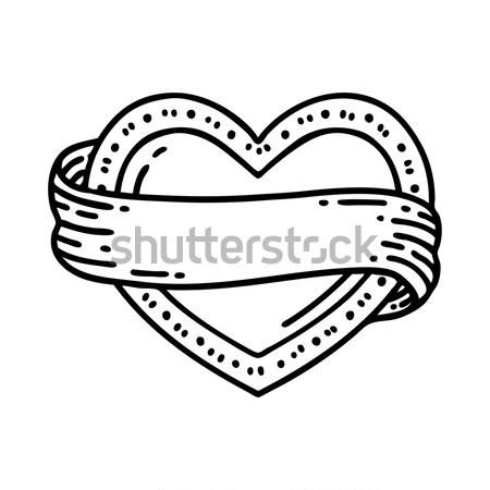 comic cartoon stitched heart Stock photo © lineartestpilot