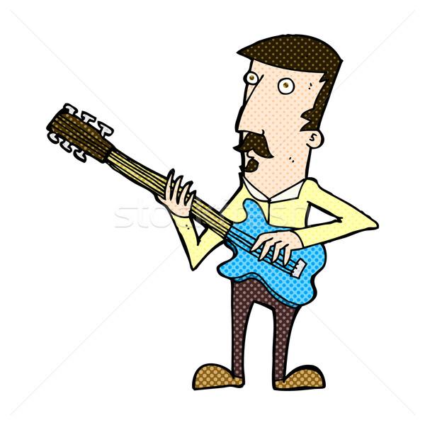 комического Cartoon человека играет электрической гитаре ретро Сток-фото © lineartestpilot