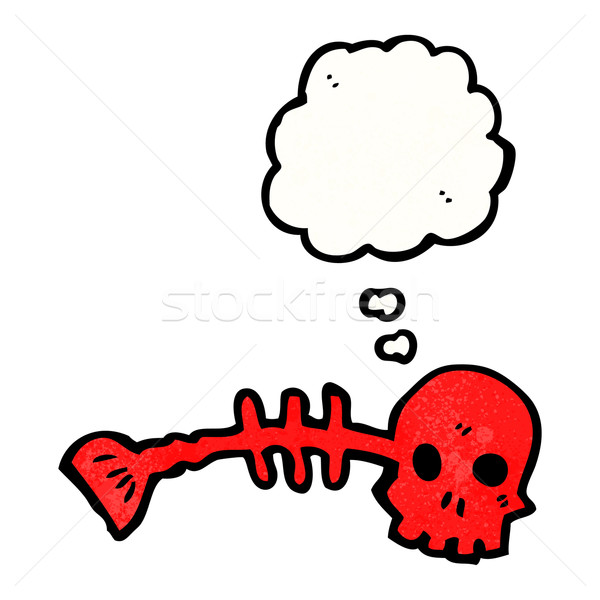 spooky skull fishbones symbol with thought bubble Stock photo © lineartestpilot