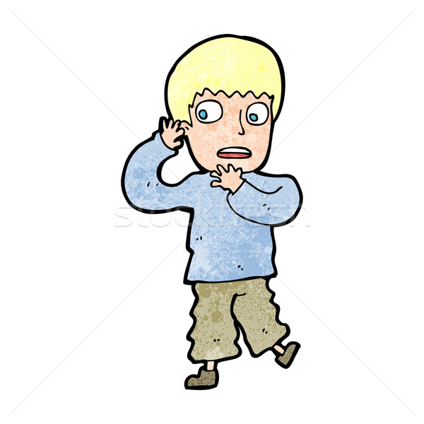 cartoon frightened boy Stock photo © lineartestpilot