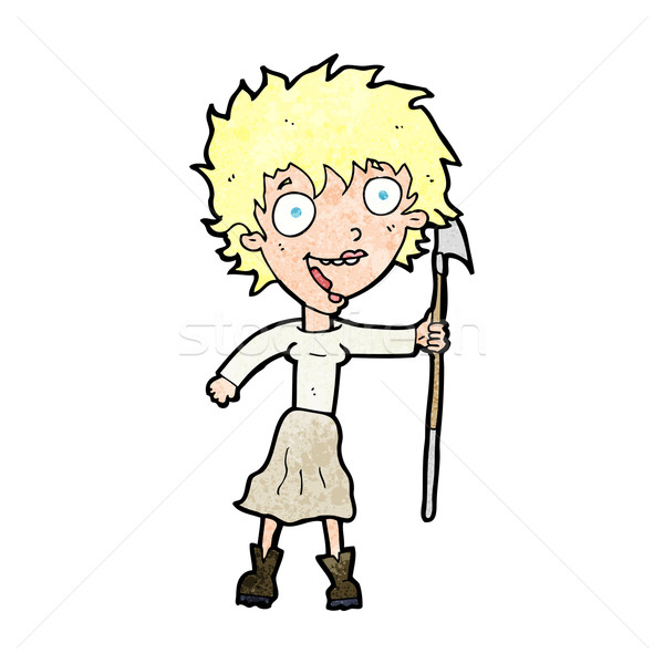 cartoon crazy woman with spear Stock photo © lineartestpilot