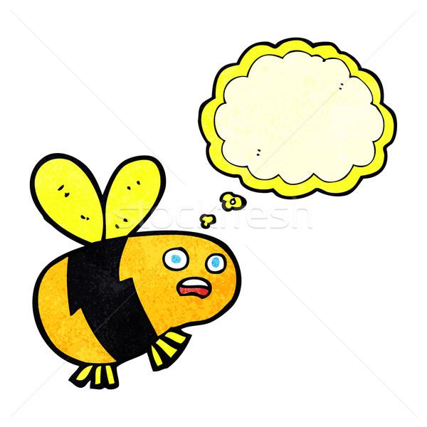 Desenho animado abelha balão de pensamento mão projeto arte Foto stock © lineartestpilot