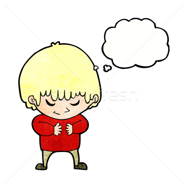 cartoon shy boy with thought bubble Stock photo © lineartestpilot