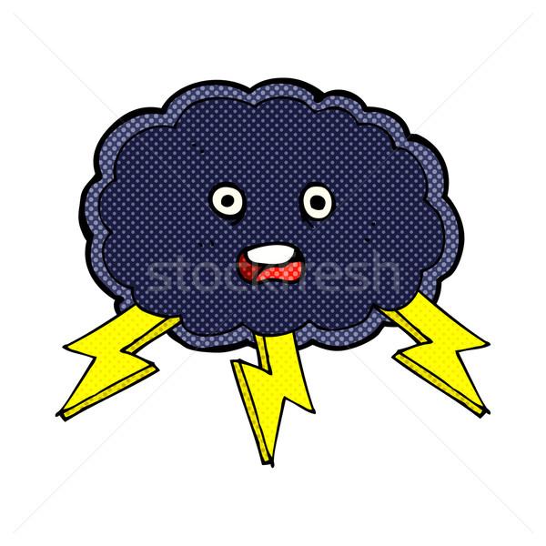 Képregény rajz felhő villám szimbólum retro Stock fotó © lineartestpilot