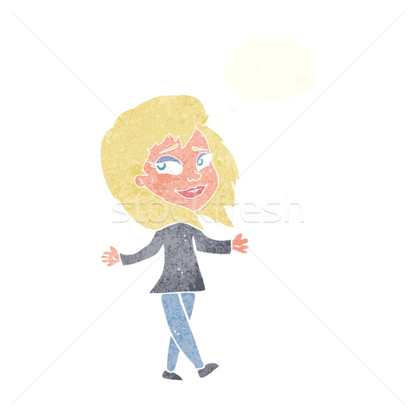 stress free woman cartoon with thought bubble Stock photo © lineartestpilot