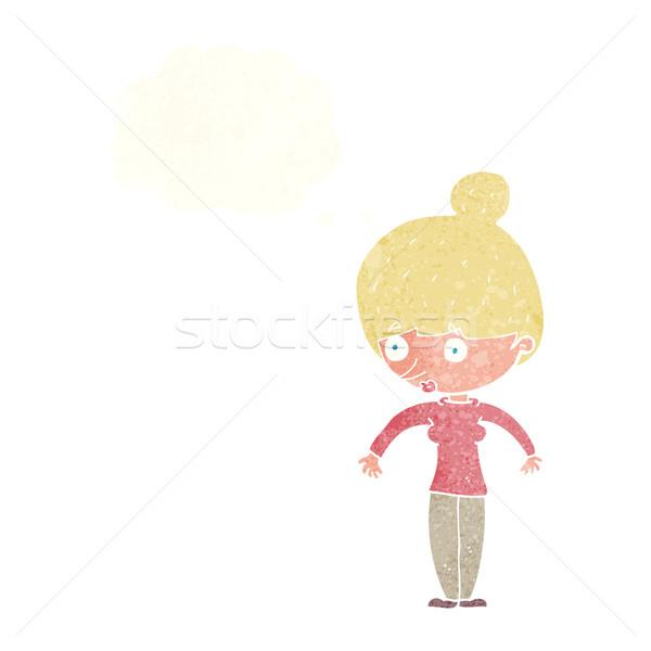 Rajz nő bámul gondolatbuborék kéz terv Stock fotó © lineartestpilot