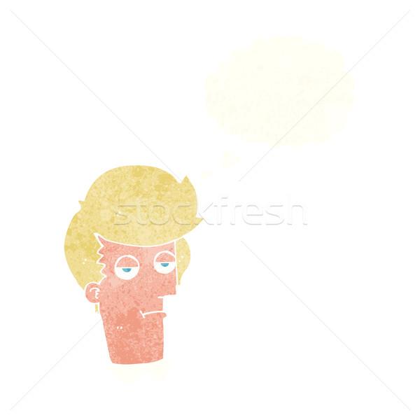 Cartoon скучно человека мысли пузырь стороны дизайна Сток-фото © lineartestpilot