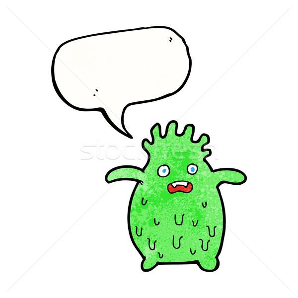 Cartoon смешные слизь монстр речи пузырь стороны Сток-фото © lineartestpilot