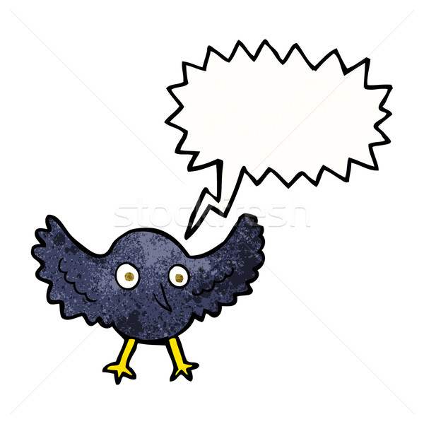 cartoon crow with speech bubble Stock photo © lineartestpilot