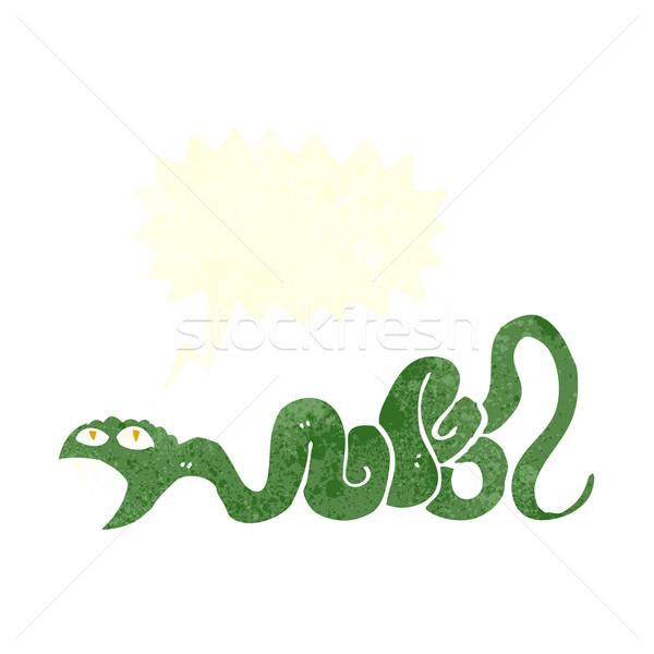 Rajz kígyó szövegbuborék kéz terv művészet Stock fotó © lineartestpilot