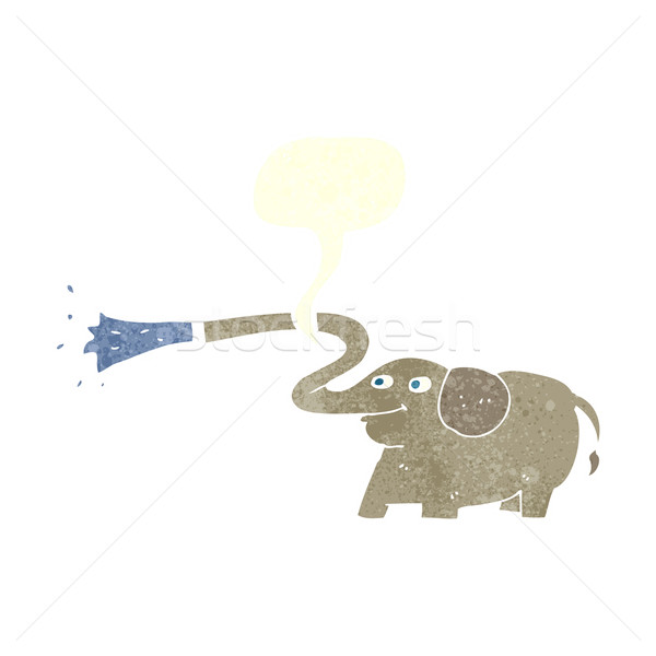 cartoon elephant squirting water with speech bubble Stock photo © lineartestpilot