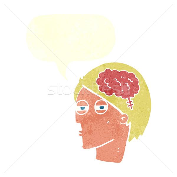 Karikatür adam düşünme dikkatlice konuşma balonu el Stok fotoğraf © lineartestpilot