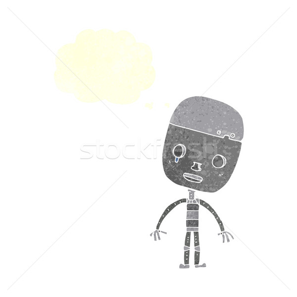 cartoon sad robot with speech bubble Stock photo © lineartestpilot