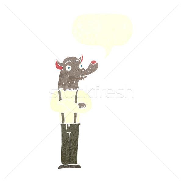 Karikatür dostça kurt adam konuşma balonu el adam Stok fotoğraf © lineartestpilot