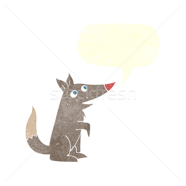 cartoon wolf cub with speech bubble Stock photo © lineartestpilot