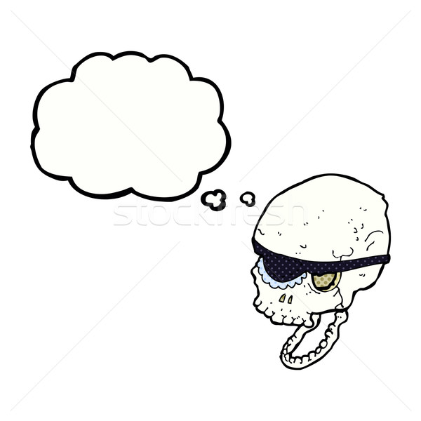 cartoon spooky skull with eye patch with thought bubble Stock photo © lineartestpilot