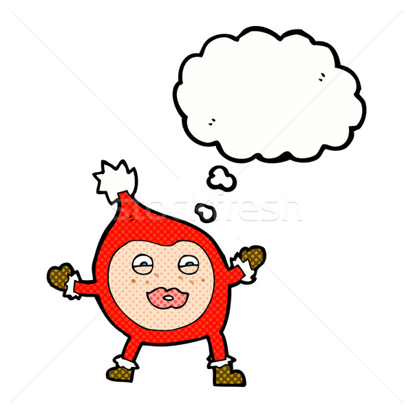 cartoon funny christmas creature with thought bubble Stock photo © lineartestpilot