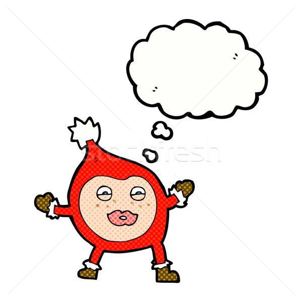 Cartoon funny Navidad criatura burbuja de pensamiento mano Foto stock © lineartestpilot