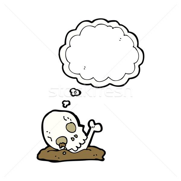 Desenho Animado Velho Ossos Balao De Pensamento Mao