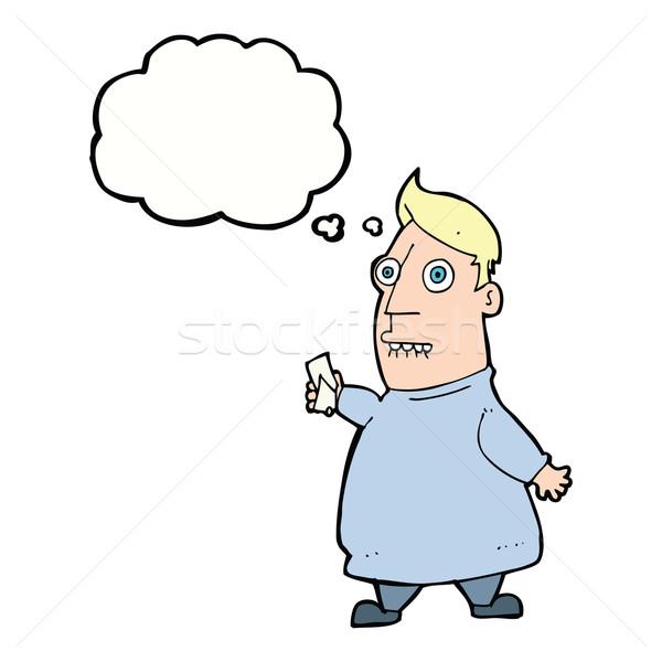 Cartoon нервный человека билеты мысли пузырь стороны Сток-фото © lineartestpilot