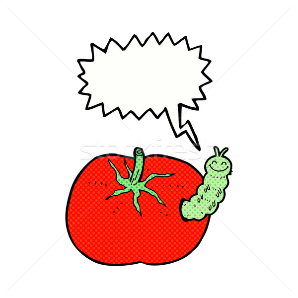cartoon tomato with bug with speech bubble Stock photo © lineartestpilot