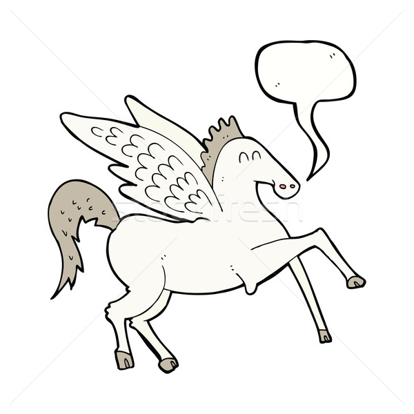 cartoon pegasus with speech bubble Stock photo © lineartestpilot